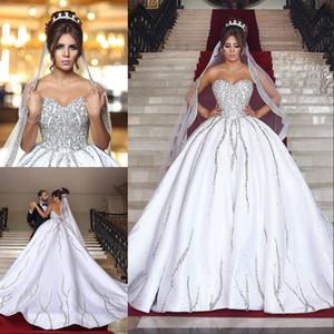 Robe de mariée de mariée de haute qualité à balles paillettes Sweetheart décolleté robe de mariée sans dos cathédrale sur mesure Robes de mariée en perles