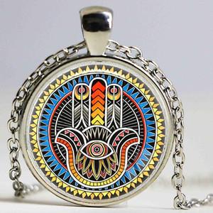 Hamsa 손 부적 운이 좋은 목걸이 보석 fatima 유대인의 Kabbalah 매력 미리 암 핸드 페인팅 목걸이 손으로 만든 보석