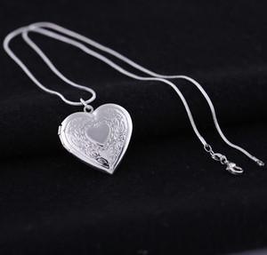 Banhado a prata 925 Medalhões Pingente Colares de Coração Esculpido Charme Photo Frames Pode Abrir Medalhão Colar Dia Dos Namorados Presente Para As Mulheres Menina