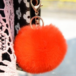 Imitation of rabbit hair Fur Quality Soft Fur Ball Silver Metal Key Chains Ball Pom Poms Plush Keychain Car Keyring Bag Earrings Accessories