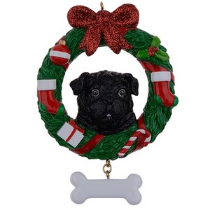 Black Pug Dog Resin Crafts Shiny Christmas Ornaments Hand Painted and Easily Personalized as for Pug Owners gifts or home decor