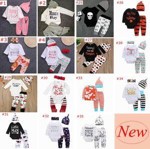 Mais de 60 estilos Xmas Ins New Baby Baby Girls Christmas Hollowen Outfit Meninas Meninas Meninas 3 peças Definir Camiseta + Pant + Hat 0-2years Free
