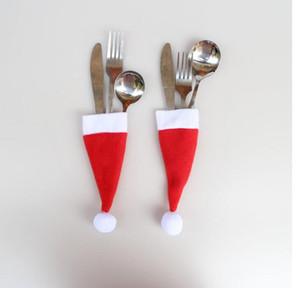New Christmas Hat Silverware Holder Xmas Mini Red Babbo Natale posate Party Decor Carino regalo cappello Set di posate da tavola