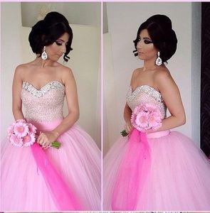 Blush Pink Tulle Ball Vestidos Vestidos de quinceañera Lentejuelas con cuentas Sweetheatrt Floor Length Sweet 16 Vestidos Vestido de gala del baile de graduación