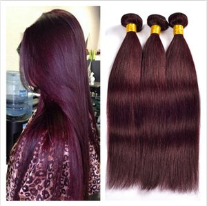 Grado 9A brasileño Extensiones de pelo de Borgoña # 99J Wine Red 3Bundles Brasileño sedoso recto de color rojo burdeos cabello humano teje DHL libre