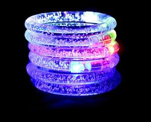 Flash de LED Piscando Brilho Cor Mudando Luz Acrílico Crianças Brinquedos Lâmpada Anel de Mão Luminosa Fluorescência Do Clube Stage Bracelet Bangle Xmas