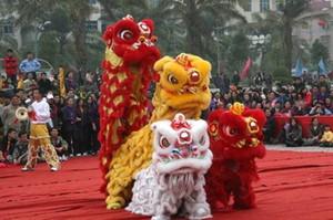 Celebración del Sur traje de la mascota de lana danza del león de bambú que teje piel pista equipo del partido