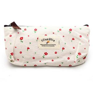 Gros-frais Campagne fleur de style floral toile Trousse stylo Sacs de maquillage cosmétiques Sac pochette portefeuille Fermeture à glissière de stockage de bourse de sac cadeau