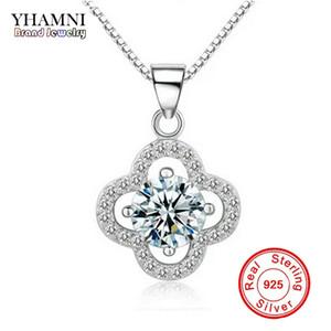 YHAMNI Fine Jewelry Solid Silver Necklace Clover Shape Set 1 ct SONA CZ бриллиантовое ожерелье для женщин свадебные украшения 4Y