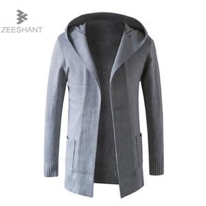 ZEESHANT осень мужская вязаный кардиган пиджаки с капюшоном свитер пальто без пряжки длинный рукав свитер Gilet Homme Manche Longue
