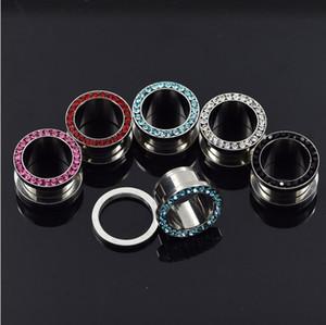 Çelik Kulak Tıkaçları Kristal Paslanmaz Çelik Kulak Fiş Eti Tünel Küpe Hollow Genişletici Kulak Göstergeler Seti Piercing Takı 3-14 MM 5 Renkler