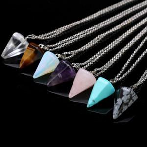 Kadınlar Doğal Taş Kolye Kolye Kristal Şifa Çakra Reiki Gümüş Taş Altıgen Prisme Koni Pendulum Charm Kolye 20 Renkler 3