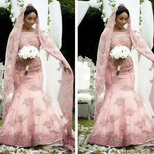 2019 Elegante Africano Rosa Sereia Vestidos de Casamento Manga Longa Sheer Jewel Neck Muçulmano Vestido De Noiva Para O Outono Inverno Casamento Com Véus Livres