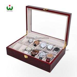 Сегодняшняя сделка, большая скидка в DHgate питания 12 сетки деревянные часы дисплей ювелирных изделий чехол коробка для хранения держатель кожа, стекло топ ювелирных изделий