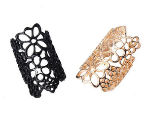 Women Fashion Hollow Alloy Finger Rings Rose Flower Opening Wide Cuff Style Ring Punk Black Gold Colors Ring Jewelry