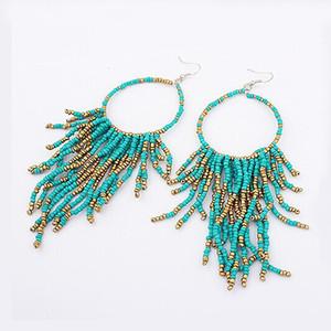 Vintage bohème boucles d'oreilles perles à la main multicouche glands perles longues boucles d'oreilles Fashion Femal bijoux magasin spécial