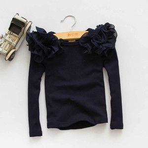 baby Girls 2 to 6 years long sleeve spring & fall Tees, children cotton Tops, kids boutique autumn t-shirts, R1ES12TS-78