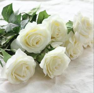 Yeni 17 renkler Mix Sipariş Vintage Yapay Çiçekler 10-20 Kafaları Gerçek Dokunmatik Lateks Gül Çiçek Buketleri Düğün Ev Dekorasyon Noel