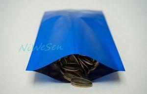 8x12 cm mavi düz çanta / 200 x ısı üst açık mühür kaplama alüminyum folyo düz cep alüminize mylar paketi gıda plastik çantası