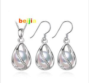 Envío gratis flor perla jaula conjunto de joyas, colgante de perlas naturales, collar y aretes, pendientes naturales para las mujeres, joyería de la boda