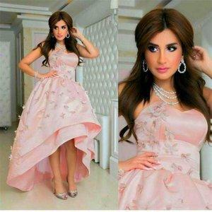 Abiti da sera rosa Abiti da sera Hi Low back Lace up Medio Oriente fatti a mano Fiore Elegante Prom Party Dresses 2016 Vestidos De Festa