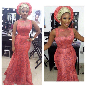 2017 нигерийский кружева стили Русалка невесты вечерние платья aso ebi Белла для свадьбы Пром партии театрализованное платья ярус длина пола плюс размер