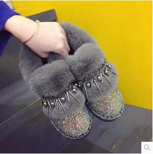 2019 Bling Sequins neve sapatos botas de moda rebite Mulher Adicionar reunindo para engrossar os sapatos de algodão coringa pelúcia pão nova loja é recomendado