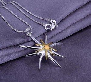 Or Argent 925 plaqué d'or Starfish Pendentif plage Étoile de mer Charm Collier Sea Silver Star Pendentif NO CHAIN DHL cadeau de Noël