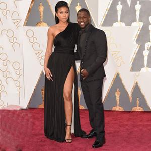 2016 Oscar Ödülleri Esinlenerek Siyah Bir Omuz Kolsuz Yan Yarık Uzun Gelinlik Modelleri Ünlü Elbiseleri