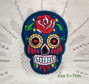 Zucker Schädel Blume Maske Rock Punk Motorrad Biker Jacke Eisen auf bestickt Patch Geschenk Shirt Tasche Hose Mantel Weste Individualität