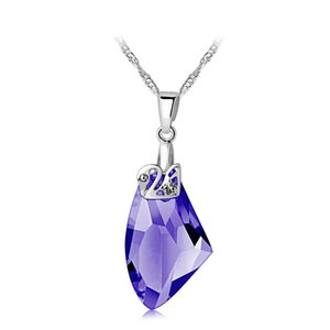Hot Crystal Halskette Versilbert Schmuck Swan Anhänger Opulente Halskette Natürliche Kristall Edlen Schmuck Anhänger Halsketten Schmuck 4 Farben