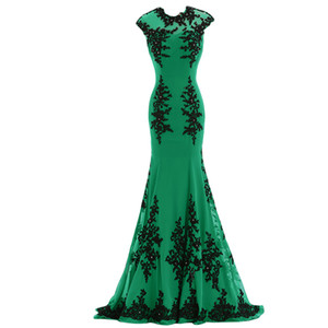 Elegant Long Evening Dresses 2019 Sexy Emerald Green Chiffon Open Back Appliques Party Runway Cheap Red Carpet Celebrity Gowns