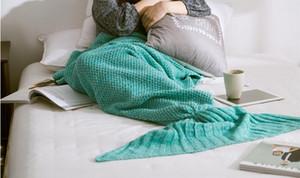 180x80 cm Adulto Moda Malha Sereia Cauda Cobertor Super Macio Mais Quente Cama Cobertor Traje de Dormir Ar-Condição Malha Cobertor 7 cores