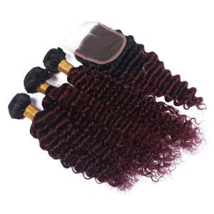 Burgundy Ombre Brésilien Trames De Cheveux Humains Avec Fermeture Deux Tons # 1B / 99j Vin Rouge Profondes Bouclés Cheveux Humains 3Bundles Avec La Fermeture De Dentelle 4x4