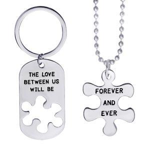 سوف الحب بيننا إلى الأبد وإلى الأبد عشاق لغز إلكتروني محفورة dog tag المفاتيح قلادة عيد الحب هدية 8
