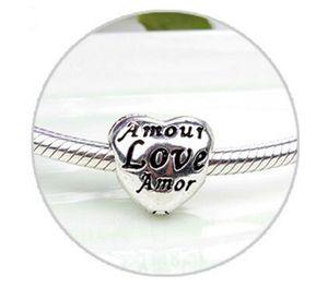 HYWo 925 Sterling Silver Abstract Love Heart forma fibbia Charms Pulseira Fit Charm europeo pandora braccialetti fai da te ciondolo all'ingrosso