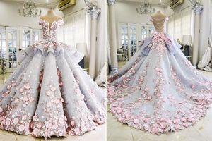 Mak-Tumang-maktumang organza douces robes de bal à manches courtes Robes de mariée appliques 3D-Floral dentelle rose De luxe Robes De Mariée De Novia