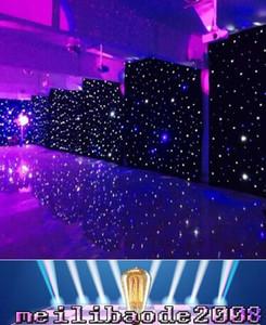 3mx6m LED Wedding Party Curtain LED Star Cloth Black Stage Backdrop LED Star Cloth Cortina Luz Decoración de la boda MYY1668