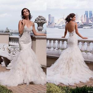 2020 Wunderschöne Eve von Milady Spitze Mermaid Brautkleider Sexy Backless Missses wulstige Schatz Tiered Röcke Brautkleider ba2442