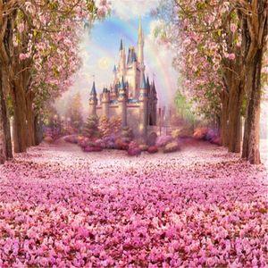Kirschblüten Hintergründe für Studio-Rosa-Blumen-Bäume Petals deckte Straße Regenbogen-Kind-Kind-Prinzessin Castle Fotografie Kulissen