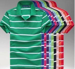 Preço de atacado listrada homens De Negócios calções de manga polo Camisas de Algodão Popular Personalizado Designer Feito camisas de vestido ordem da mistura