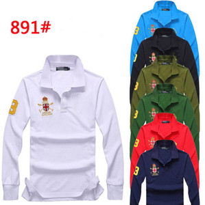 Famosa marca Big Horse Homens Camisa Polo Sólidos de Manga Longa Sólida Camisas Polo camisa Polos Masculina Casual Tops de Poliéster T-shirt Camisas Plus Size M-4XL