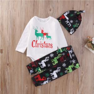 Nouveau-né Bébé Boutique Vêtements De Noël Pyjamas ELK Cerf Reindeer Enfants Vêtements Set Enfants Barboteuse Costume Infant Xmas Globale En Gros