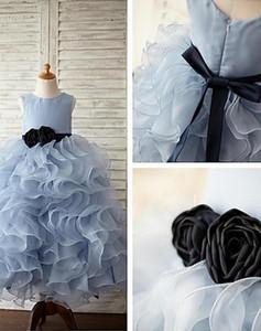 Blumenmädchenkleider Für Hochzeit Organza Ballkleid Bodenlangen Kinder Kleine Mädchen Kleinkind Glitz Prinzessin Pageant Kleider Für Mädchen Kleider
