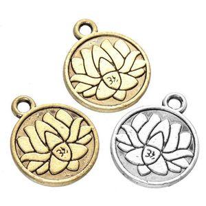 200 pcs Lotus Charmes Yoga Méditation Antique Argent or Petit Lotus Charme TierraCast Sans Plomb Étain 18mm x 15mm