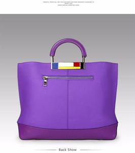 Metal Grande Tote Bags Roxo Europeu Marca Designer de Couro Real Bolsas Das Mulheres Espaçoso Grande para Titular Laptop Fácil