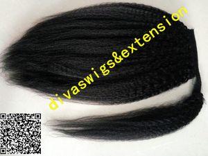 Envuelve peinados negros cola de caballo rizado recto grueso yaki cordón coleta postizo brasileño clips para el cabello en la extensión del pelo 120g