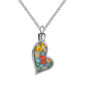 Lily Feuerbestattung Schmuck Bunte Blumen Unregelmäßige Herz Urn Halskette Memorial Ash Keepsake Anhänger mit Geschenktüte Trichter und Kette