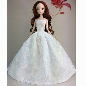 Fashion White Handmade Fashion Wedding Gown Dresses Clothes Party For Princess Doll Xmas Gift