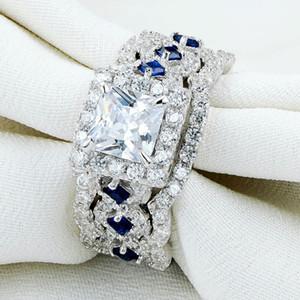 2.2 Ct 3 piezas Sólida plata de ley 925 Halo anillo de bodas establece princesa Cut CZ lado azul de piedra joyería clásica para mujeres